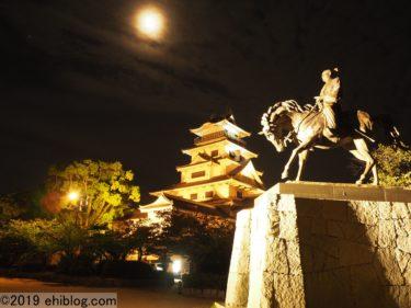 【日本100名城】【日本三大海城】ライトアップされた今治城は水堀にも現れる!【イルミネーション】