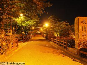 ライトアップされた今治城の土橋
