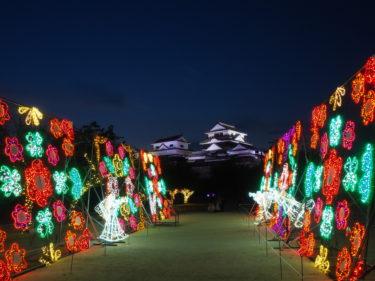 松山城のライトアップ