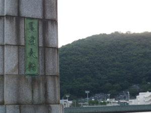 長浜大橋から肱川あらし展望公園を望む