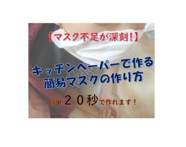 【マスク不足対策】キッチンペーパーで簡易マスクを作る方法【20秒で出来る!】