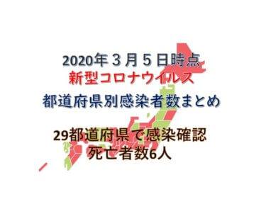【3月5日時点最新】新型コロナウイルス都道府県別感染者数まとめ【感染確認数359人、死亡者数6人】