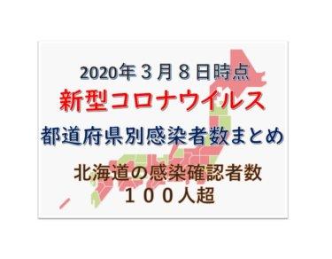 【3月8日時点最新】新型コロナウイルス都道府県別感染者数まとめ【北海道の感染者が100人超】