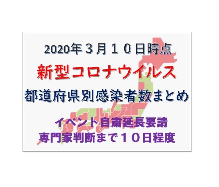 3月10日新型コロナウイルス都道府県別まとめ