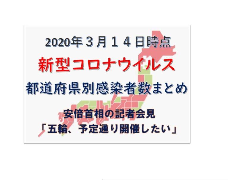 3月14日新型コロナウイルス都道府県別まとめ