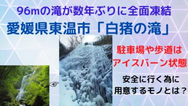 96mの滝が数年ぶりに全面凍結!白銀の「白猪の滝」へ安全に行ける方法【コツ・ポイント・路面状況まとめ】