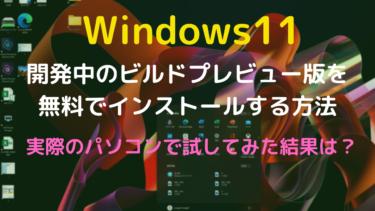【Windows11ビルド版】実際のパソコンにインストールする方法手順【実機での評価レビュー】